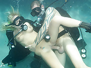 Angelina getting slammed hard by the underwater cock