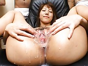 Arika Takarano shows her messy pussy by spreading her legs wide
