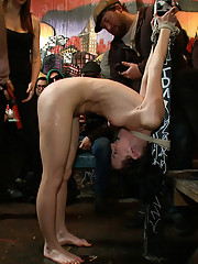 Hot girl gets tied up and exposed at a bar where patrons cover her in beer and spit before watching her get fucked hard!