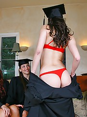 3 hot college babes celebrate high school graduation in this hot 3some fucking lesbian group sex party