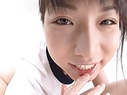 Reika Midoh with sperm on her tongue and fingers
