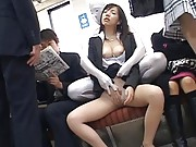 Japanese AV Model has her pussy groped on the subway in public