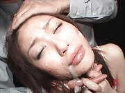 Akari Hoshino gets a messy facial after being fucked in public