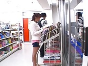 Yuma Asami denim miniskirt is lifted up at the store