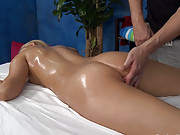 Cute and sexy 18 year old blonde gets fucked hard from behind by her massage therapist