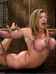 "Hogtied MILF with HUGE ""EE"" breast suffer brutal breast bondage incorporated to a back breaking suspension.  Made to cum so hard & often she cries."