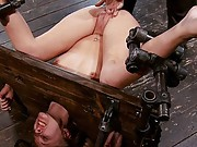 College girl, detained, bound in hard metal with shaved pussy exposed, made to cum!