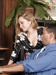 .....Aiden Starr is a Travel Agent Boss hired Gabriel to help with her travel agency. While training him to use the computer booking database Aiden gets uncomfortably close, then makes her move on the unsuspecting newbie. Eventually she reveals the real r