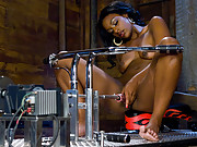 Hot black amateur girl railed by fuckingmachines, pussy drips