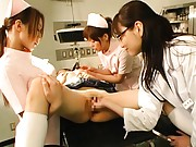 Japanese AV Model lays on the nurse table and gets played with