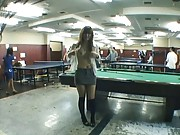 Japanese AV Model shows her tits at a pool hall before hot sex
