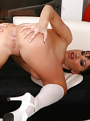 Fit, foxy and flexible Lea gets plowed hard in every hole by big hard cocks before taking five hot cum loads on her pretty face.