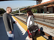 Amazing hot brunette gets picked up at the train station hot amateur fucking 4 vids