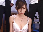 Rino Tomoa sexy teacher removes her top to show large tits in bra