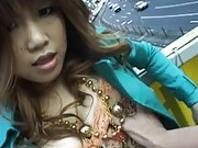Waka Sato large titties squeezed in the back of her car