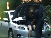 Hino Hikari sits on the car and has her pussy eaten by lover