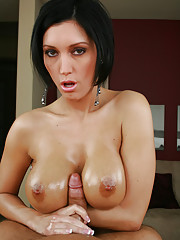 Dylan Ryder oils up her gorgeous 34 DD's and slides up and down Brad's cock until he explodes and douses her with spunk.