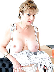Leggy busty british mature strips