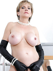 Long leather gloves lingerie mature