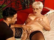 Younger guy frigging granny fanny