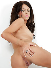 Gorgeous brunette Megan Coxxx getting aroused from touching her sexy body.