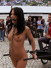 European beauty is stripped naked in the streets then fucked in the ass and left with cum on her face in public