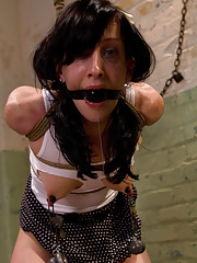 Petite hard body is put in tough bondage, has her clit blown up with a suction device and strap-on ass fucked to multiple orgasms!