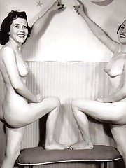 Multiple sexy ladies posing naked in fifties
