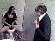 Chick fucking senior on a toilet in sixties