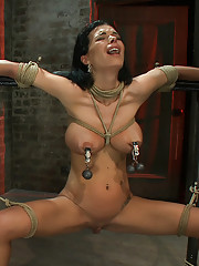 Sexy thin girl with & huge boobs has heavy weights added to her neck & nipples, has massive orgasms while the neck rope slowly chokes her almost out.