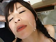 Kaho Kasumi naughty cosplay girl gets a facial from these men