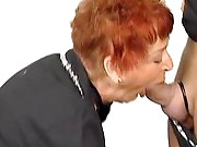 Ginger granny loves sucking cock