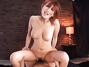 Reon Otowa rides his cock until he pulls it out and cums on her