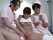 Japanese AV Model does lesbian action with two horny nurses
