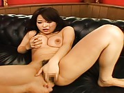 Yuu Haruka masturbating on the couch while touching her tits