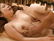 Japanese AV Model´s tits are squeezed while she is being fucked