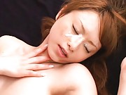 Akiho Yoshizawa lays on her back and gets fucked really hard