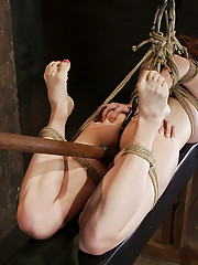 19yr old redhead with massive DD natural breast is hogtied, anal hooked, finger fucked and made to cum over and over, is left suspended and hanging.