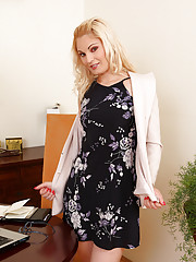 Sexy 30 year old Ionella spreads her pussy wide open in the office