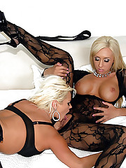Jessica lynn and her big tits lesbian girl fuck each other in these high class fishnet fucking pics
