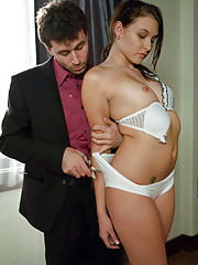 Katie dominated and fucked in the ass by cruel landlord.