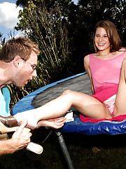 Smoking hot ass long leg teenie on a trampoline gets fucked hard in these outdoor fuck fucking pics