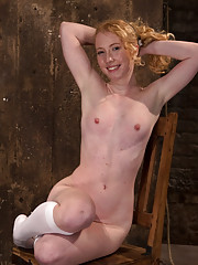 Sexy girl next door, is suspended into a brutal back arch from hell.  Her nipples & pussy are tormented. Made to cum and moan like a common slut.