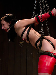 Tough bondage, electricity, single leg suspension, titty torture predicament. Elise takes it all. Hard bondage equals hard orgasms.