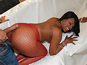 Hot big ass fishnet babe sucks balls and cock then drilled against the couch hot vids