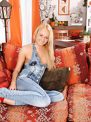 Blonde wearing jeans fucked hard in the ass
