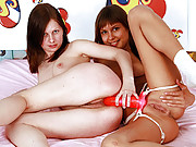 Two horny lesbian girls pleasuring eachother