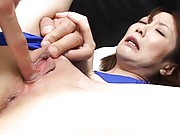 Ageha is fingered deeply in her tight pussy hole