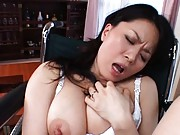 Miki Sato fucks her sex toy and makes herself get close to orgasm