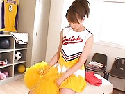 Akiho Yoshizawa wears a cheerleader outfit that will be taken off